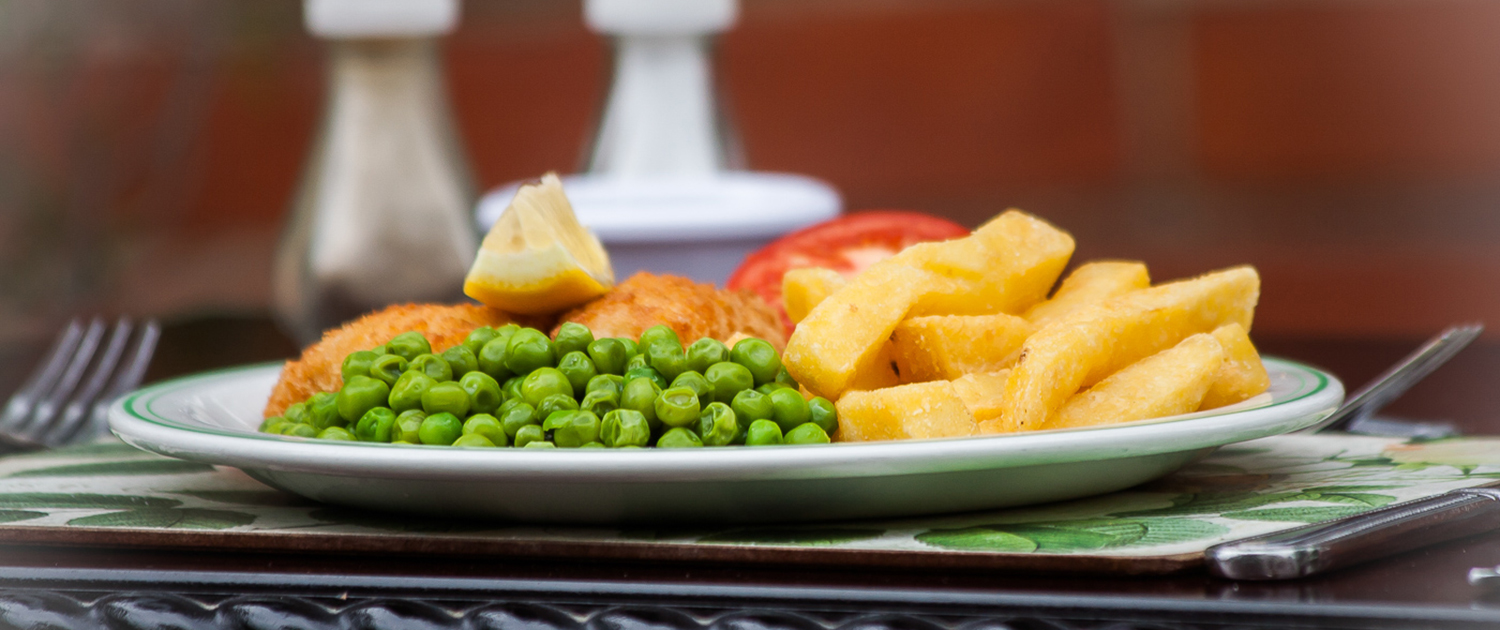 Photo of traditional fish and chips meal at Cornelius House