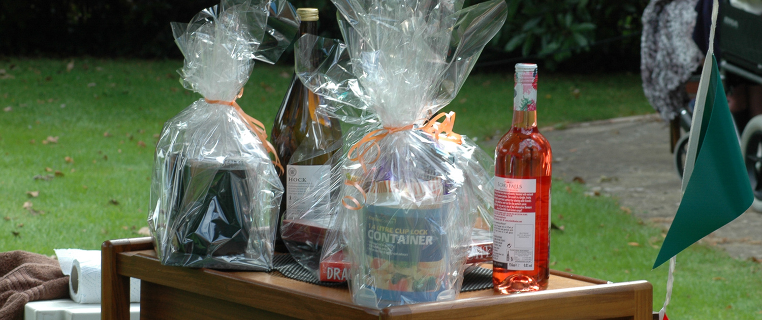 Photo of the Raffle prizes at an event at Cornelius House Residential Care Home