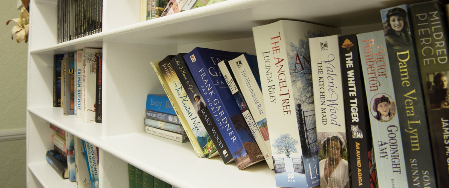 Photo of the book library at Cornelius House Residential Care Home